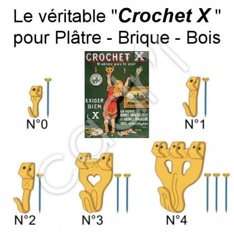 Crochets tableaux le crochet x pour pl tre brique bois - Crochets adhesifs pour tableaux ...