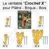 Crochets à Tableaux Le Crochet X pour Plâtre-Brique-Bois