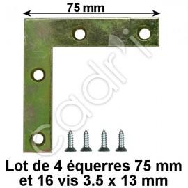 Équerres de Renfort 75 mm pour Cadres Bois