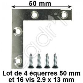 Équerres de Renfort 50 mm pour Cadres Bois - Lot de 4