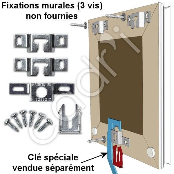 accrochage de s curit pour cadres baguette bois 1 verrou. Black Bedroom Furniture Sets. Home Design Ideas