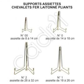 Support-Assiette Fer Laitonné Chevalet Pliant